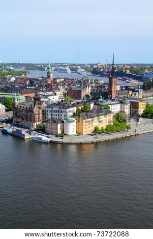 Stockholm, Sweden. View of famous Gamla Stan (the Old Town), Stadsholmen island.