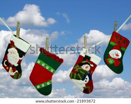 stocking hanging on clothesline