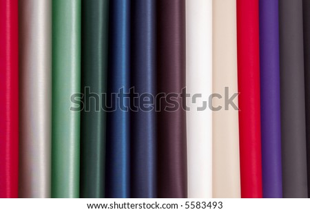 Stocks of a fabric are necessary for manufacture of a garment factory - stock photo