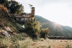 Stoliv, Montenegro - 2018: Ruined Old Church in Gorny Stoliv city