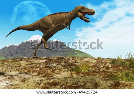 STOMPING GROUND - A Tyrannosaurus Rex dinosaur walks through his territory.