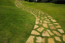 Stone and grass in walkway.