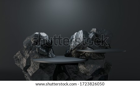 Stone and Rock shape 3d render illustration. Round podium, pedestal for brand product exhibition. Solid dark black color. Mockup template for ads design.  Stockfoto ©