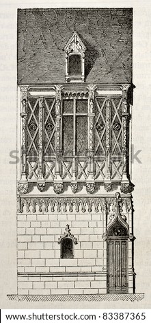 Stone and wooden house in Le Mans, France. By unidentified author, published on Magasin Pittoresque, Paris, 1840 - stock photo