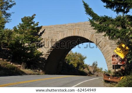 Stone arch bridge in Acadia National Park