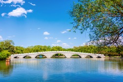 Stone arch bridge in Beiling Park, Shenyang, Liaoning, China