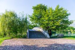 Stone arch bridge in the park