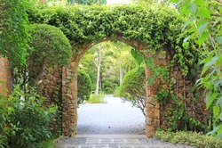 Stone arch entrance gate covered with ivy. Archway to the park.