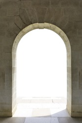 Stone arch on a white background. / entrance door