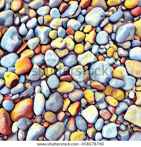 Stone background Digital illustration. Rocky backdrop or tile. Stone pile from beach. Small pebble stones mosaic wall or path. Pebble natural texture. Square decor element in bright orange color - Shutterstock ID 458678740