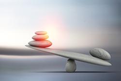 Stone balance harmony concept on gradient background