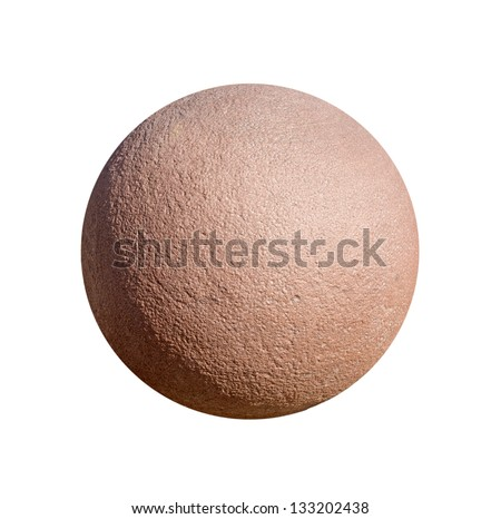 Stone ball on a white background. Architectural detail