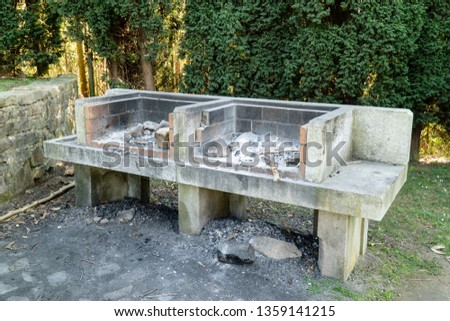 Stone barbecue in a public park of Galicia, Spain #1359141215