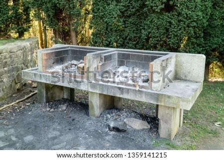 Stone barbecue in a public park of Galicia, Spain #1359141215