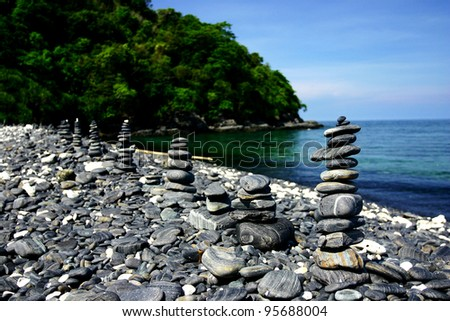 Stone beach on the hin-ngam island, Tatutao nation park, south of thailand