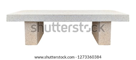 Stone bench covered with marble chips isolated on a white background
