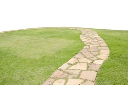 Stone block walk path european style with curve and slope green grass isolated on white background