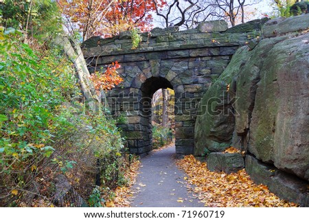 Stone bridge in Autumn in New York City Manhattan Central park.