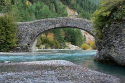 Stone bridge in Bujaruelo valley close to Ordesa and Monte Perdido National Park, Huesca province, Spain