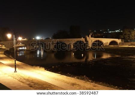 Stone bridge or kamen most at Skopje Zdjęcia stock ©