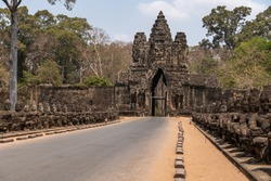 Stone bridge over the river, Angkor Wat temple complex.