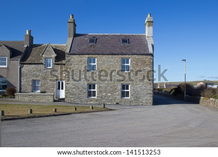 Stone built houses on the island of Shapinsay, Orkney, Scotland