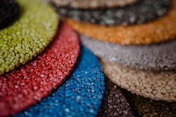 Stone carpet color palette. Decorative stone coating. Set of various types and colors.