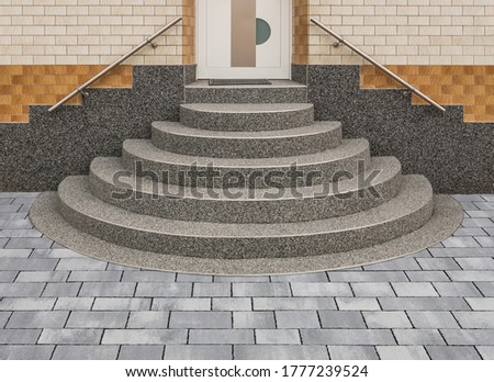 Stone carpet staircase positive conical staircase in grey with gravel coating
