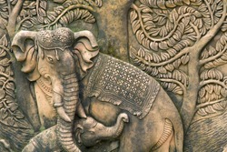 Stone carved elephants from Thailand
