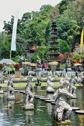 Stone carved statues and fountain in Bali, Indonesia