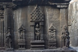 stone carving, Ellora cave, Aurangabad, Maharashtra, India, Indian Sub-Continent, Asia. Holy, caves.beautiful architecture in ancient ellora cave.