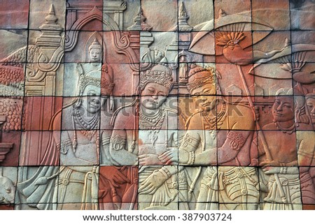 stone carvings of buddhist...