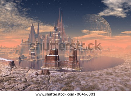 Stone Castle on Demor part 1, fantasy castle on an alien planet with mountains and water, moon in the background
