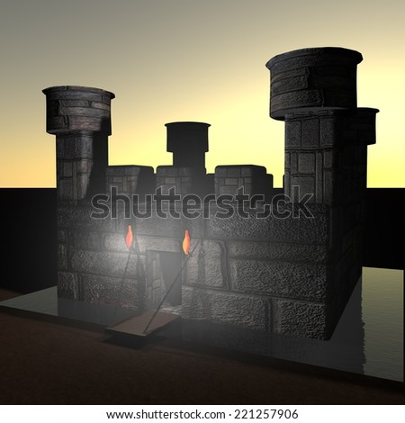 stock-photo-stone-castle-with-ditch-in-darkness-d-render-221257906.jpg
