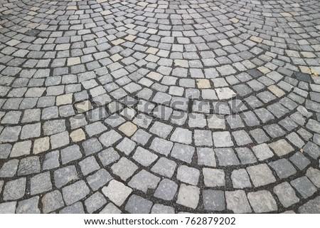 Stone Cement tile curving texture street in Vienna, Austria #762879202