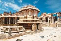 Stone chariot. Chariot in the vittalla temple in hampi. hampi - India