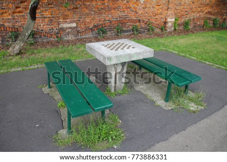 Stone Chess Table In Park #773886331