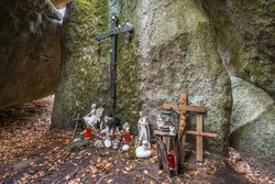Stone church in Thurmansbang - Old church built in a stone cave between erratic rocks and large stones in the Bavarian Forest, Germany