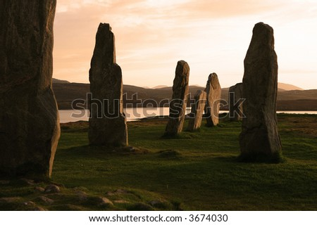 Stone Circle at Callanish, Isle of Lewis, Outer Hebrides. Photographed in late evening sunlight.