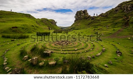 Stone circle made by tourists at fairy Glen, Isle of Skye, Scotland