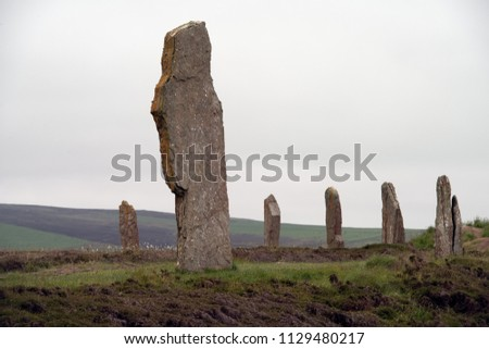 Stone circle of the Ring of Brodgar, a Neolithic henge and stone circle in Mainland, Orkney islands, Scotland