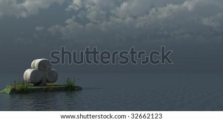 stone cloverleaf at the ocean - 3d illustration