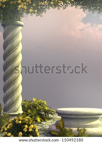 Stone column with yellow roses
