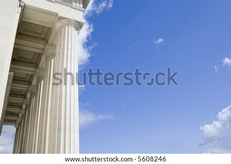 Stone Columns with Blue Sky Text Area