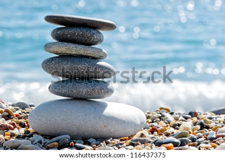 Stone composition on the beach