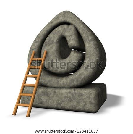 stone copyright symbol and ladder on white background - 3d illustration