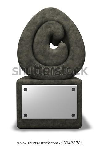 stone copyright symbol on white background - 3d illustration