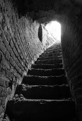 stone corridor with stairway in ancient tower of the Kremlin, interior, Smolensk, Orel tower 2013