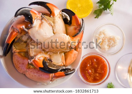 Stone crab claws. Colossal Crab claws served with lemons, spicy rémoulade sauce on top of a mixed green salad. Classic American restaurant or steakhouse appetizer or entree. ストックフォト ©