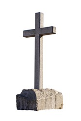 stone cross on the stone is isolated on a white background. Christian religion. High quality photo